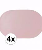 4x effen kleur placemats lichtroze