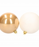 5 delige kerstballen set wit goud
