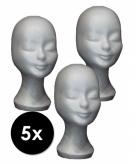 5 paspop hoofden van piepschuim