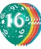 5x gekleurde 16 jaar ballonnen 30 cm