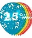 5x gekleurde 25 jaar ballonnen 30 cm