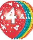 5x gekleurde 4 jaar ballonnen 30 cm