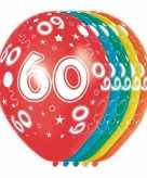 5x gekleurde 60 jaar ballonnen 30 cm