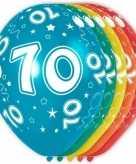 5x gekleurde 70 jaar ballonnen 30 cm