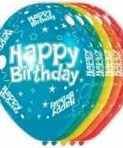 5x gekleurde happy birthday ballonnen 30 cm