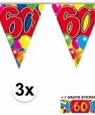 60 jaar vlaggenlijnen 3x met gratis sticker