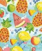 60x feest servetten tropisch fruit 33 x 33 cm