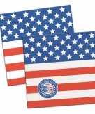 60x servetten amerikaanse vlag thema 25 cm