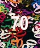70 jaar gekleurde confetti