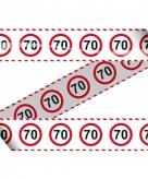 70e verjaardag markeerlint met stopborden