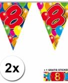 8 jaar vlaggenlijnen 2x met gratis sticker