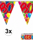 80 jaar vlaggenlijnen 3x met gratis sticker