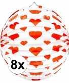 8x papieren ronde lampionnen met harten print