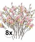 8x roze magnolia kunstbloem 105 cm