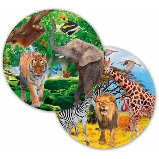8x safari jungle gebaksbordjes 23 cm