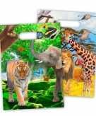 8x safari jungle uitdeelzakjes 18 x 29 cm