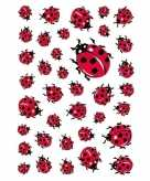 9x lieveheersbeestje stickervellen met 37 stickers