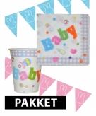 Babyshower versiering pakket roze blauw
