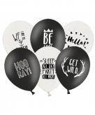 Ballonnen zwart wit thema feest 6 stuks