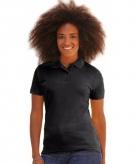Bedrijfskleding zwart dames poloshirt katoenblend