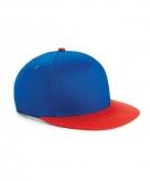 Beechfield kindercap kobalt blauw rood