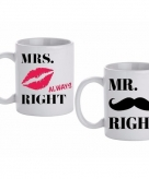 Beker cadeau set mr mrs right 300 ml