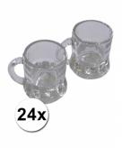 Bierpul shotglazen met handvat 4cm 24 stuks