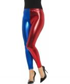 Blauw met rode metallic legging voor dames