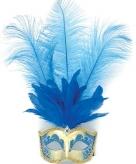 Blauw oogmasker met verentooi