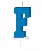 Blauw taart kaarsje letter f