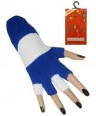 Blauw witte vingerloze handschoenen