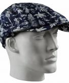 Blauwe flat cap pet met print voor heren