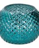 Blauwe glazen kaarsenhouder 12 cm
