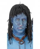 Blauwe jungle strijdster heren pruik met zwarte dreads
