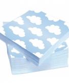 Blauwe servetten met wolken 20 stuks