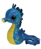 Blauwe ty beanie knuffel zeepaardjes 15 cm