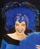 Blauwe veren hoofdtooi deluxe