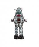 Blikken speelgoed robot grijs 23 cm