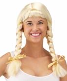 Blonde heidi pruik met vlechtjes