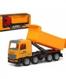 Bouw vrachtwagen met container geel 40 x 16 cm
