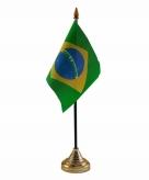 Brazilie versiering tafelvlag 10 x 15 cm