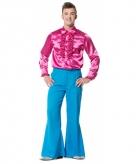 Broek in de kleur blauw wijd uitlopend voor heren