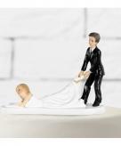 Bruidspaar figuurtje slepende bruid