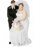 Bruidstaart poppetjes bruidspaar met bruidstaart 14 cm
