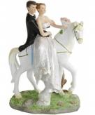 Bruidstaart poppetjes bruidspaar op paard 15 cm