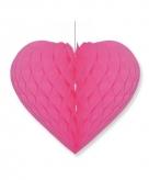 Bruiloft decoratie hart fuchsia roze 28 x 32 cm