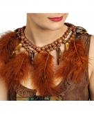 Bruine indianen ketting met veren