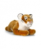 Bruine pluche liggende tijger 46cm