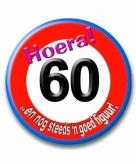Button 60 jaar verkeersbord vorm