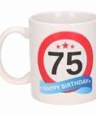 Cadeau 75 jaar mok beker verkeersbord thema